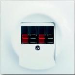 0230-0-0404+1753-0-0176 - Розетка акустическая с панелью ABB Impuls (белый бархат, чёрный цоколь)