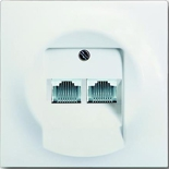 EPUAE8-8UPO+1753-0-0192 - Розетка телефонная двухместная Jung с лицевой панелью ABB Impuls (белый бархат)