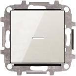 8110+2CLA819202A1001+2CLA850130A2101 - Переключатель одноклавишный проходной (перекрёстный) с подсветкой, 10А, с клавишей ABB Sky (белое стекло)
