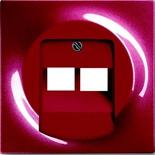1753-0-0129 - Накладка для розетки двойной телефонной/компьютерной, ABB Impuls (бордо)