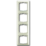 1725-0-1514 - Четырехместная рамка с декоративной накладкой ABB Basic 55 (шале-белая)