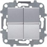 N2110 PL (2 шт.) + N2271.9 (1 шт.) - Переключатель двухклавишный промежуточный, 16А, ABB ZENIT (серебристый)