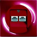 0230-0-0408+1753-0-0129 - Розетка интернет (Ethernet) двойная, категория 5е, с лицевой панелью ABB Impuls (бордо)