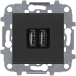 N2285 AN (1 шт.) + N2271.9 (1 шт.) - Механизм USB зарядного устройства, 2х750 мА / 1х1500 мА, Zenit (антрацит)