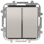 8122+2CLA851100A1301 - Переключатель двухклавишный, 10А, с клавишей ABB Sky (серебристый алюминий)
