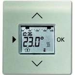 1032-0-0509+6430-0-0302 - Терморегулятор (термостат) электронный для тёплых полов, с таймером, 16А/250В, с лицевой панелью ABB Impuls (шампань-металлик)