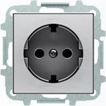 8188.9+2CLA858890A1401 - Розетка электрическая SCHUKO со шторками, 2К+З, с плоской поверхностью, 16А/250В, с накладкой ABB SKY (нержавеющая сталь)