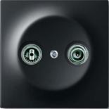 0230-0-0380+1753-0-0140 - Розетка TV-FM оконечная, с лицевой панелью ABB Impuls (черный бархат)