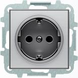 8188.6+2CLA858800A1401 - Розетка электрическая SCHUKO с заземлением и защитными шторками, автоматические клеммы, 16А/250В, с накладкой ABB SKY (нержавеющая сталь)