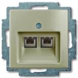 13010430 (1 шт.) + 1753-0-0203 (1 шт.) - Розетка телефонная FMT (RJ-11/12) 2 разъема ABB Basic 55 (шампань)