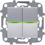 N2101.5 PL (2 шт.) + N2271.9 (1 шт.) - Выключатель двухклавишный с индикацией, 16А, ABB ZENIT (серебристый)
