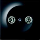 0230-0-0268+1753-0-0581 - Розетка TV-FM проходная, с лицевой панелью ABB Impuls (черный бриллиант)