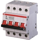 2CDE284001R0125 - Рубильник ABB E204r, 125A, четырехполюсный (красный переключатель)