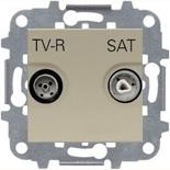 N2251.3 CV (1 шт.) + N2271.9 (1 шт.) - Розетка TV-R/SAT звезда, АВВ Зенит (шампань)