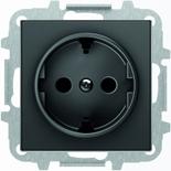 8188.6+2CLA858800A1501 - Розетка электрическая SCHUKO с заземлением и защитными шторками, автоматические клеммы, 16А/250В, с накладкой ABB SKY (чёрный бархат)