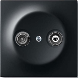 S2900-10+1753-0-0140 - Розетка TV-FM проходная, с механизмом Jung и панелью ABB Impuls (черный бархат)
