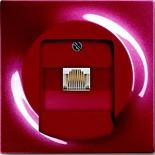 0230-0-0378+1753-0-0130 - Розетка телефонная для коннекторов RJ11/RJ12, RJ45, одиночная, с лицевой панелью ABB Impuls (бордо)
