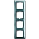 1725-0-1524 - Четырехместная рамка с декоративной накладкой ABB Basic 55 (голубая)