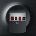 0230-0-0464+1753-0-0148 - Розетка для динамиков с панелью ABB Impuls (чёрный бархат, белый цоколь)