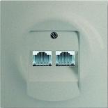 0230-0-0235+1753-0-9038 - Розетка телефонная на 2 коннектора с лицевой панелью ABB Impuls (шампань-металлик)