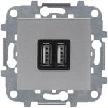 N2285 PL (1 шт.) + N2271.9 (1 шт.) - Механизм USB зарядного устройства, 2х750 мА / 1х1500 мА, Zenit (серебристый)