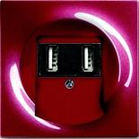 6400-0-0002+1753-0-0116 - Зарядка USB двойная, 1400мА (по 700мА на каждое гнездо), с лицевой панелью ABB Impuls (бордо)