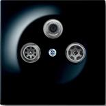 S4100+1753-0-0730 - Розетка TV-SAT-FM оконечная, с механизмом Jung и панелью ABB Impuls (черный бриллиант)