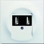 6400-0-0002+1753-0-0176 - Зарядка USB двойная, 1400мА (по 700мА на каждое гнездо), с лицевой панелью ABB Impuls (белый бархат)