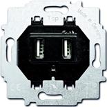 6400-0-0002 - Механизм зарядного устройства USB, двухместный, 1400 мА (по 700 мА на каждое гнездо), ABB