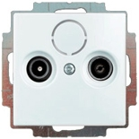 1724-0-4316 (1 шт.) + S2900 (1 шт.) - Розетка TV-FM оконечная Jung с лицевой панелью Abb Basic 55 (шале-белая)