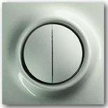 1012-0-2111+1753-0-5333 - Выключатель двухклавишный с подсветкой, с клавишами ABB Impuls (шампань-металлик)