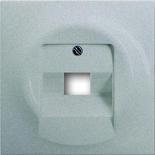 1753-0-0087 - Лицевая панель для розетки телефонной/компьютерной на 1 коннектор, ABB Impuls (серебристый металлик)