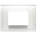 N2473 CB - Трехмодульная рамка итальянского стандарта, АВВ Зенит (белое стекло)