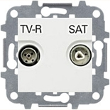 N2251.8 BL (1 шт.) + N2271.9 (1 шт.) - Розетка TV-R/SAT проходная, ABB Zenit (белая)