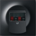 0230-0-0404+1753-0-0148 - Розетка для динамиков с панелью ABB Impuls (чёрный бархат, чёрный цоколь)