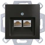13810405-1 (1 шт.) + 1753-0-0206 (1 шт.) - Розетка компьютерная FMT RJ-45, кат. 6, 2 выхода, с лицевой панелью, ABB Basic 55 (шато-черная)