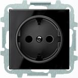 8188.6+2CLA858800A2501 - Розетка электрическая SCHUKO с заземлением и защитными шторками, автоматические клеммы, 16А/250В, с накладкой ABB SKY (чёрное стекло)
