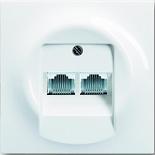 0230-0-0235+1753-0-9004 - Розетка телефонная на 2 коннектора с лицевой панелью ABB Impuls (альпийский белый)
