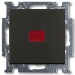 1413-0-1096 (1 шт.) + 1784-0-0545 (1 шт.) - Выключатель кнопочный с подсветкой ABB Basic 55 (шато-черный)