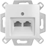 0230-0-0408 (1 шт.) + 1753-0-0095 (1 шт.) - Розетка компьютерная RJ-45, кат. 5, 2 выхода, с лицевой панелью, ABB Basic 55 (белая)