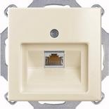 1753-0-0098 (1 шт.) + UAE8UPOK6 (1 шт.) - Розетка компьютерная Jung RJ-45, кат. 6, 1 выход, с лицевой панелью, ABB Basic 55 (слоновая кость)
