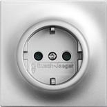 2013-0-5275 - Розетка электрическая с заземлением и защитными шторками, 16A, ABB Impuls (серебристый металлик)