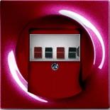 0230-0-0464+1753-0-0116 - Розетка для динамиков с панелью АВВ Импульс (бордо, белый цоколь)
