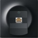 0230-0-0378+1753-0-0162 - Розетка телефонная для коннекторов RJ11/RJ12, RJ45, одиночная, с лицевой панелью ABB Impuls (чёрный бархат)