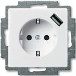 2011-0-6193 - Розетка электрическая + зарядка USB, безвинтовые клеммы, защитные шторки (альпийская белая)