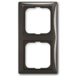 1725-0-1507 - Двухместная рамка с декоративной накладкой ABB Basic 55 (шато-черная)
