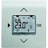 1032-0-0509+6430-0-0342 - Терморегулятор (термостат) электронный для тёплых полов, с таймером, 16А/250В, с лицевой панелью ABB Impuls (серебристый металлик)