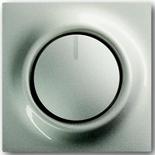 6512-0-0302+6599-0-2159 - Светорегулятор (диммер) поворотный с возвратно-нажимным переключателем, с подсветкой, 500Вт, ABB Impuls (шампань-металлик)