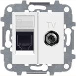 2018.5 (1 шт.) + N2118.1 BL (1 шт.) + N2150 BL (1 шт.) + N2271.9 (1 шт.) - Розетка комбинированная компьютерная 5Е + TV, АВВ Зенит (белая)