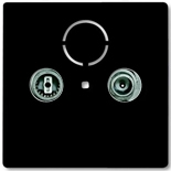 1724-0-4314 (1 шт.) + 0230-0-0268 (1 шт.) - Розетка TV-FM проходная Abb Basic 55 (шато-черная)